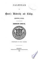 Calendar of Queen's University at Kingston, Canada